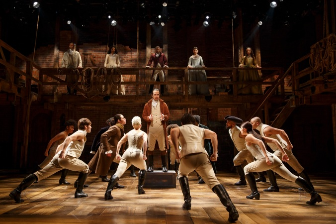 The cast of Hamilton at The Public Theater. Photo Credit: Joan Marcus