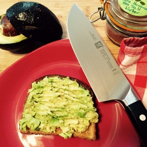 My fancy new Henckels Pro knife contributed to today's healthy lunch: smashed avocado on low-calorie wheat bread with a sprinkling of Hawaiian pink sea salt!