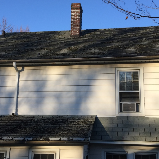 The roof of our 1931 Colonial, awaiting sparkly new shingles, chimney repair and bright shiny gutters.